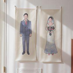 웨딩 세로형 패브릭 포스터 . 바란스커튼
