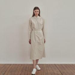 Shirts wrap long Dress - Cream