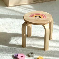 우드 키즈 무지개원형의자 주니어 의자