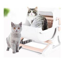 간편하고 우아한 고양이 반자동 화장실