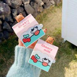 귀여운 에어팟 1/2/프로 체리우유 곰 실리콘 케이스