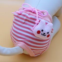 스트라이프 팬티 - 토끼 핑크