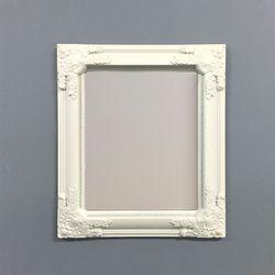 아이보리 직사각형 화장대 쉐비 벽거울