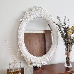 프렌치 로즈 아르누보 타원형 벽거울