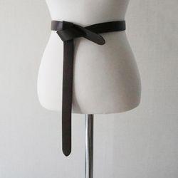 매듭 꼬임 프리사이즈 원피스 가죽 벨트 (2color)