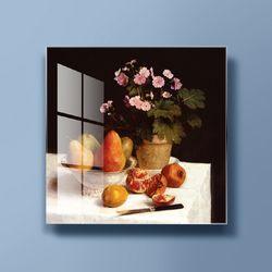 아트글라스 명화 유리액자 라투르 꽃과과일 화분