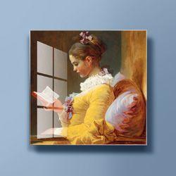 아트글라스 명화 유리액자 프라고나르 책읽는소녀
