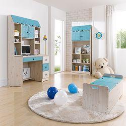 키즈 공부방 지붕형 포비 책상세트(책상+책꽂이)