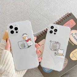 아이폰 12 프로 SE2 11 XR 8 동물 투명 실리콘 케이스