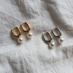 진주 드롭 미니 타원 원터치 링귀걸이 (2color)