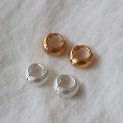 작은 원터치 무광 미니 링귀걸이 무니켈침(2color)