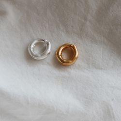 원형 볼륨 링 원터치 귀찌 이어커프 (2color)