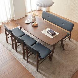 바넷 패밀리 원목 6인 식탁세트 의자3+벤치1 VNM026