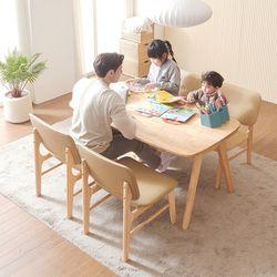 바넷 패밀리 원목 4인 식탁세트 의자2+벤치1 VNM024