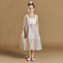 퍼키 꽃자수 캉캉 드레스 여아 아동 키즈 셔링 리본 체크 원피스