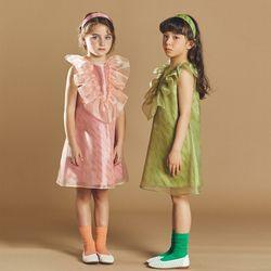 퍼키 피오나 러플 원피스 여아 아동 키즈 셔링 리본 체크 드레스
