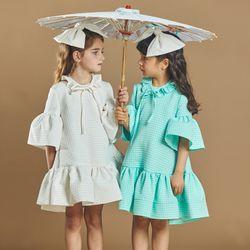 퍼키 도트릴리 원피스 여아 아동 키즈 셔링 리본 체크 드레스