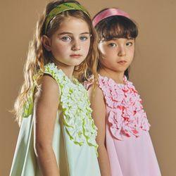 퍼키 버블팝 원피스 여아 아동 키즈 셔링 리본 체크 드레스