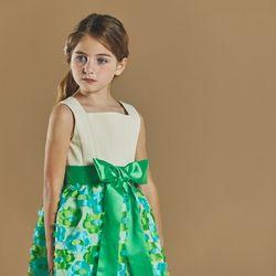 퍼키 블루밍 오리엔탈 드레스 여아 아동 키즈 셔링 리본 원피스