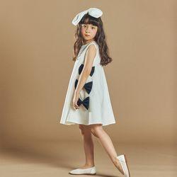 퍼키 블랙모던 리본 원피스 여아 아동 키즈 리본 체크 드레스