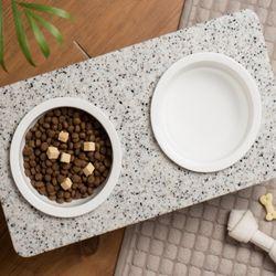 고양이 강아지식기 애견식기 애견 대리석식탁 (색상랜덤발송)