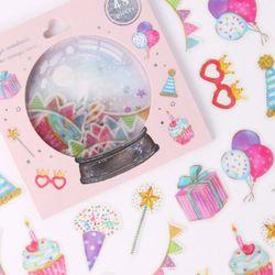 (인디고샵)[금박] 깜짝 생일파티 요술램프 스티커팩