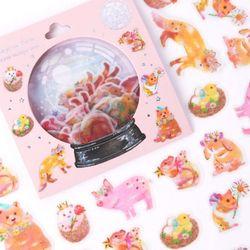 (인디고샵)[금박] 동화속 동물친구 요술램프 스티커팩