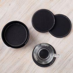 모클 써클 가죽 컵받침 6p세트(블랙)