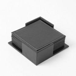 모클 스퀘어 가죽 컵받침 6p세트(블랙)