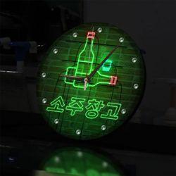 nf651-LED시계액자25R네온효과소주창고