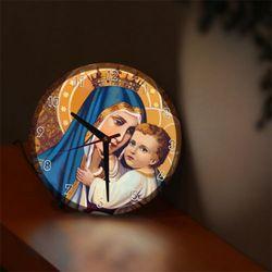 nf657-LED시계액자25R성모마리아와아기예수