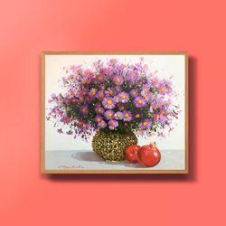 캔버스액자 유화그림 꽃과 석류그림 10호
