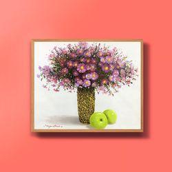 캔버스액자 유화그림 꽃과 풋사과그림 10호