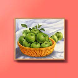 캔버스액자 유화그림 번창의 풋사과그림 10호