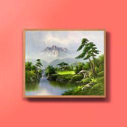 캔버스액자 유화그림 기품의 소나무 그림 10호