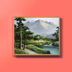 캔버스액자 유화그림 번창의 소나무 그림 10호