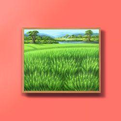 캔버스액자 유화그림 청보리그림 들판 10호