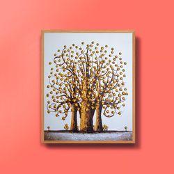 캔버스액자 유화그림 금전운 황금나무그림 12호