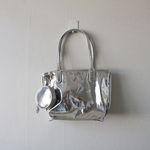 메탈 반짝이 실버 골드 동전 지갑 키링 미니 쇼퍼백 (2color)