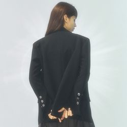 [CITY] Roll-Up Sleeve Tailrored Jacket[BLACK](CTD1)