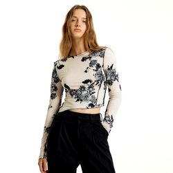 [CITY] Flowery Long Sleeve T-Shirts[IVORY](CTD1)