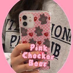 Pink Checker Bear (clear) 아이폰케이스