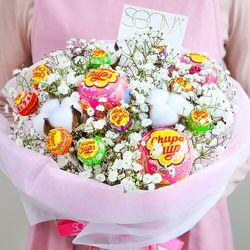 화이트데이 한정판 온리유 솜사탕 꽃다발 (생화+사탕)