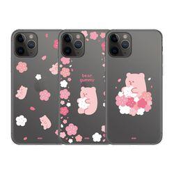 아이폰12 11 pro max xs 8 베어구미 벚꽃 투명 케이스
