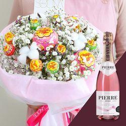 화이트데이 한정판 온리유 솜사탕 꽃다발 & 와인 세트