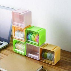 큐브형 마스킹 테이프 정리함 1개(색상랜덤)