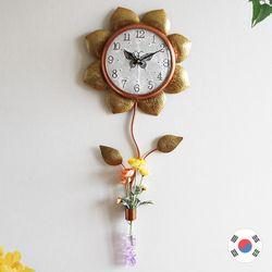 꽃화병 해바라기 동공예품 벽시계 SBC-112
