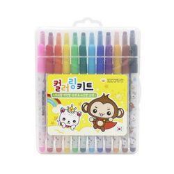 컬러링키트 색연필12색+사인펜12색