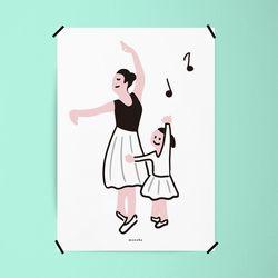 발레 교실 M 유니크 디자인 인테리어 포스터 A3(중형)