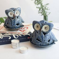 블루 나뭇잎 부엉이 촛대 캔들홀더 (2type)